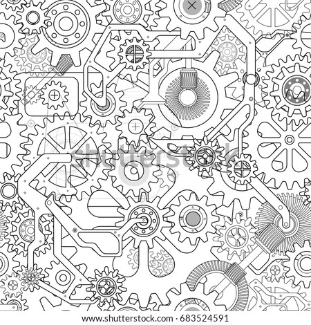 Clockworks mechanism in steampunk style illustration with many gears drawn blueprint, seamless pattern white background illustration