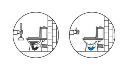 Clogged toilet bowl vector illustration. Lavatory pan line art concept with vent (air-valve). Wc pan washing (cleaning) graphic design.