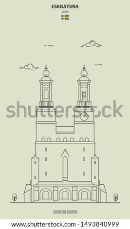Cloisters Church in Eskilstuna, Sweden. Landmark icon in linear style