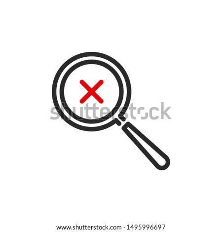 close error X with magnifier glass outline flat icon. Single quality outline logo search symbol for web design or mobile app. Thin line design logo sign. Loupe lens icon isolated on white background.
