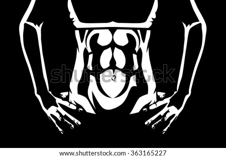 close up abdominal muscles of