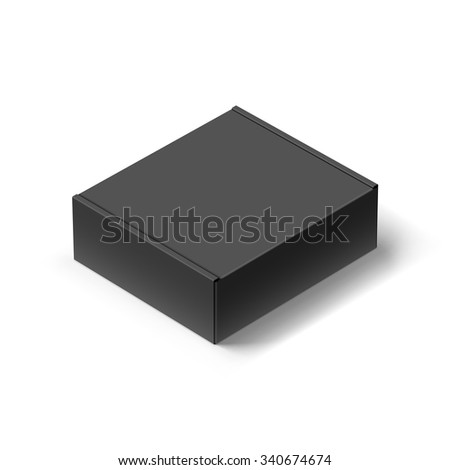 Close up Black Carton Box with the Realistic Shadow on White