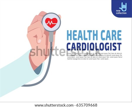 Close up. Cardiologist doctor stethoscope hold in hand.Red heartbeat symbol with life line. Cardiology.Medical healthcare concept.Vector flat cartoon design illustration.Isolated on background.