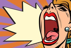 Close-up face pop art woman screaming rage. Comic book cartoon retro vector illustration drawing