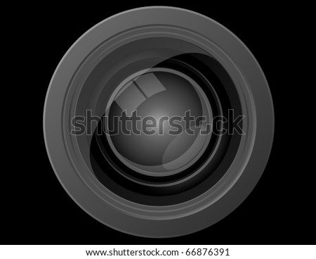 Close Up Front View of a Camera Lens - stock vector