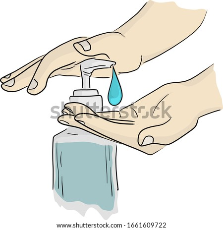 close-up hands using hand sanitizer gel pump dispenser vector illustration sketch doodle hand drawn isolated on white background