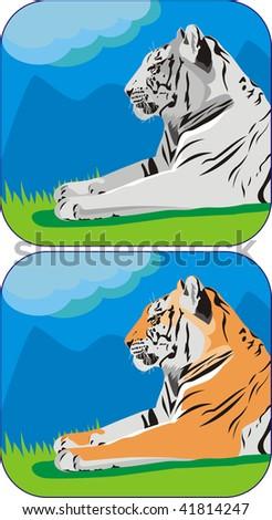 close-up illustration of tiger resting at nature