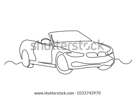 Close-up. Luxury car convertible. Machine without roof. One continuous drawing line drawn by hand on a white background.
