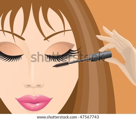 Close-up of a beautiful female face mascara. Vector illustration.