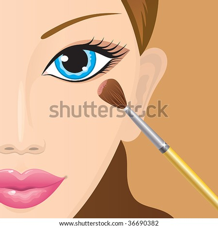 Close-up of a female face with eye-shadows being applied. Vector.