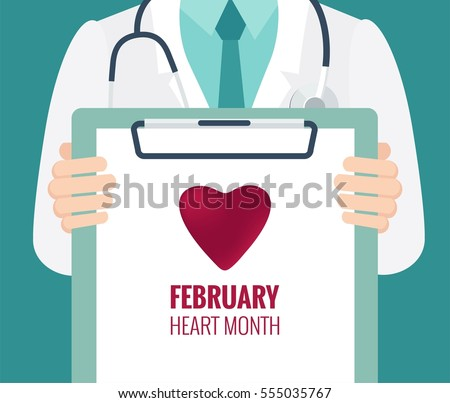 Close-up of a male doctor with lab coat in his office holding a clipboard.  February National Heart Month. Vector flat illustration
