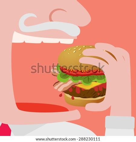 close up of a man eating a big