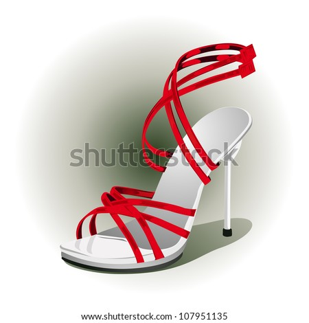 close up of a red high heels vector