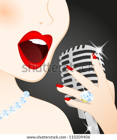 Close up of beautiful woman singing in microphone - stock vector