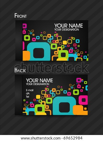 Close up of BUSINESS CARD template,editable vector illustration