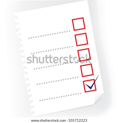 close up of checkbox notepad