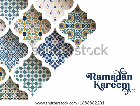 Close-up of colorful ornamental arabic tiles, patterns through white mosque window. Greeting card, invitation for Muslim holiday Ramadan Kareem. Vector illustration bacground, modern web banner.