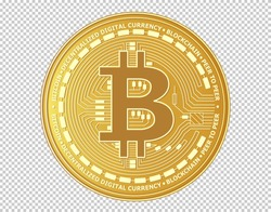 Close up of Golden Bitcoin isolated on background. Symbol of digital money coin. Gold metal coins. Virtual cryptocurrency. Electronic banking. concept vector illustration.