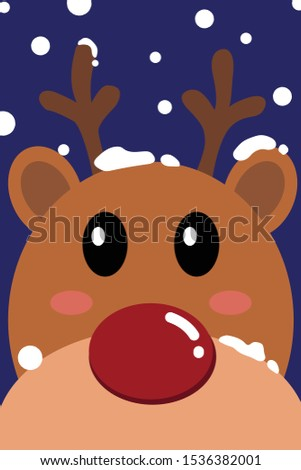 Close up of reindeer face with snow in blue background- Vector illustration- Vector illustration- Vector illustration