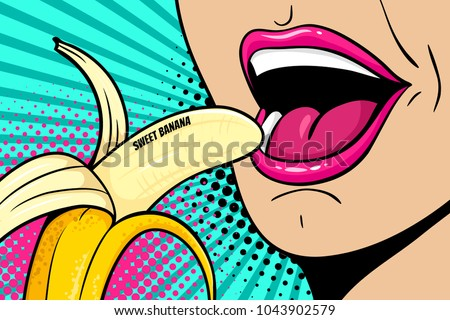Close up of sexy open female mouth eating banana with sweet banana lettering. Vector colorful background in comic retro pop art style.
