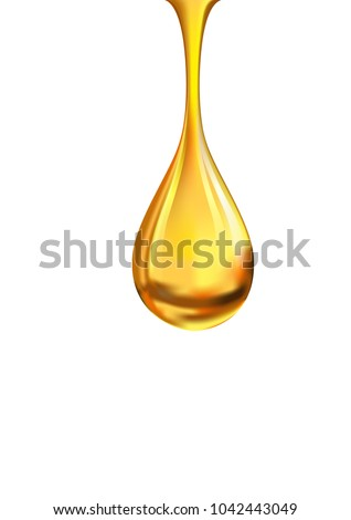 Close-up of shiny gold drop falling isolated on white.