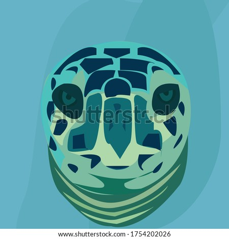 close up sea turtle face green