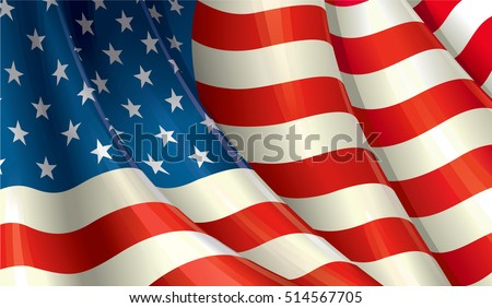 Close Up Vector Illustration of a waving American Flag