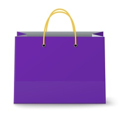 Close-up view of classic violet paper shopping bag with yellow rope grips isolated on white background. Vector illustration.