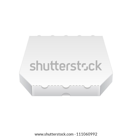 Close Up White Blank Carton Pizza Box. Ready For Your Design. Product Packing Vector EPS10