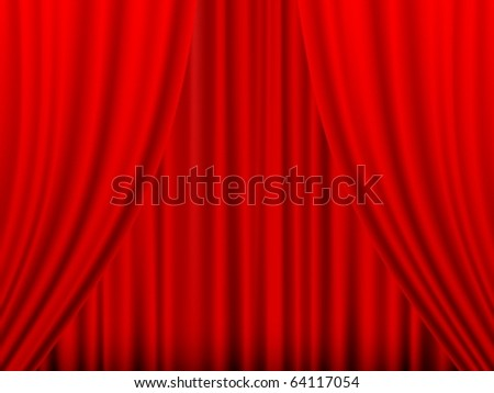 Close view of a red curtain. Vector illustration.