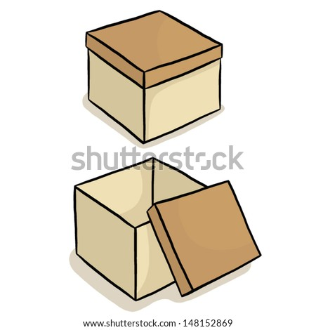 Closed And Open Box / Cartoon Vector And Illustration ...