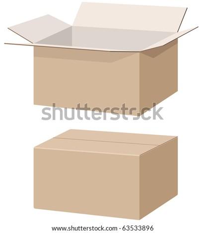 Closed And Open Carton Box. Vector - 63533896 : Shutterstock