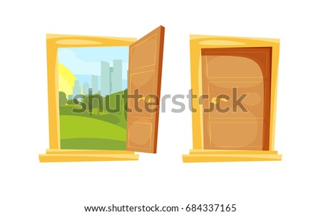 Closed and opened door with sunset landscape behind
