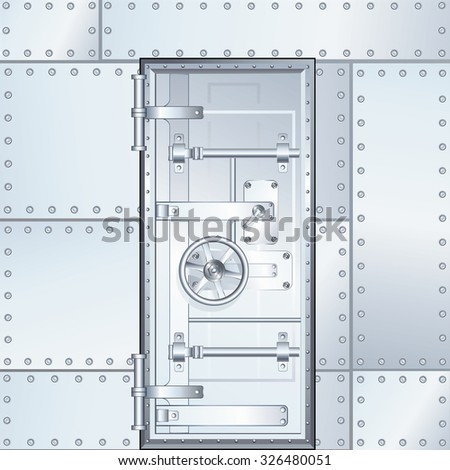 closed bank vault door vector