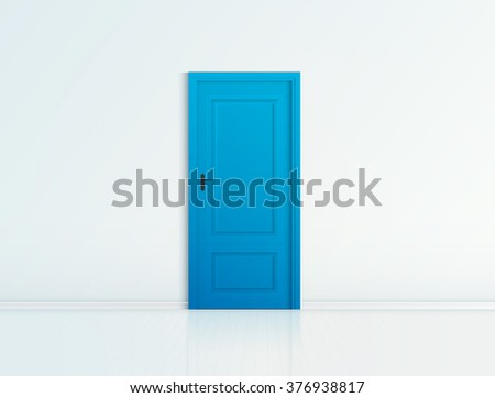 closed blue door with frame