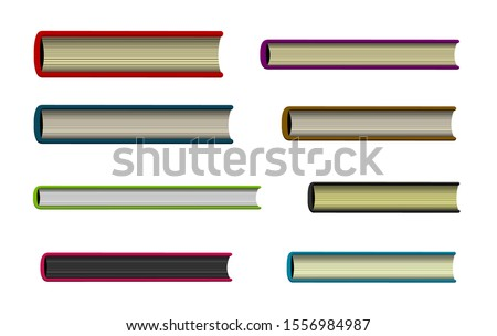 Closed book viewed from the bottom , top illustration set Сток-фото ©