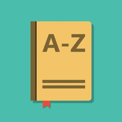 closed book with letters a-z, encyclopedia or dictionary