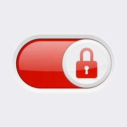 Closed button. Toggle switch red button. Vector 3d illustration