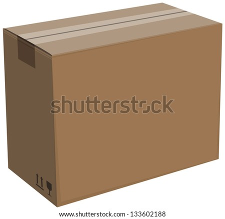 Closed cardboard box isolated Illustration in vector format