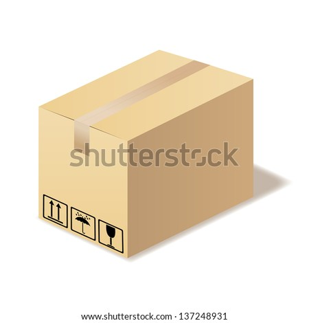 Closed cardboard box isolated. Illustration in vector format