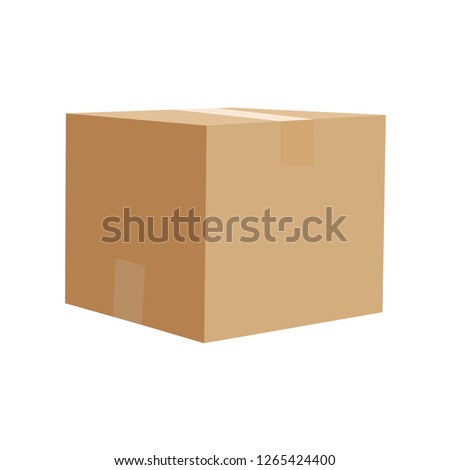 Closed cardboard box vector illustration isolated on white background