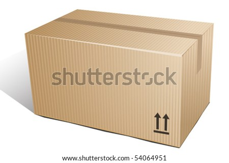 Closed cardboard on white background. Vector illustration