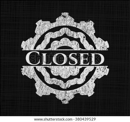 Closed chalkboard emblem