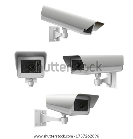Closed circuit television cameras realistic set. External cctv. Surveillance equipment. Security monitoring system for smart home, company. Vector realistic cctv isolated on white background. Stock foto ©