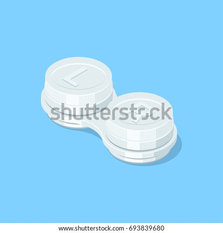 Closed contact lenses container. Isometric vector illustration