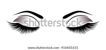 Closed eyes with black fluffy eyelashes on a white background.
