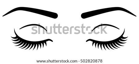 Closed eyes with eyelashes. Women eyes simple illustration