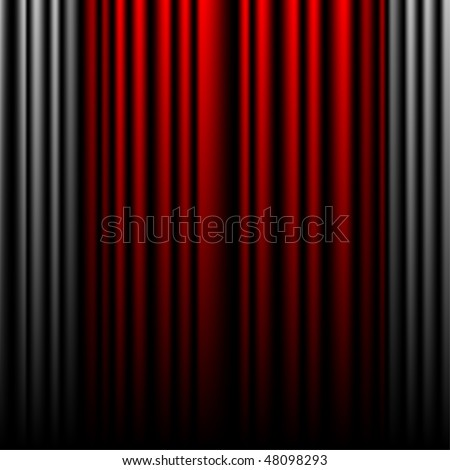 Closed colored gray and red theater curtains background in the mesh technique