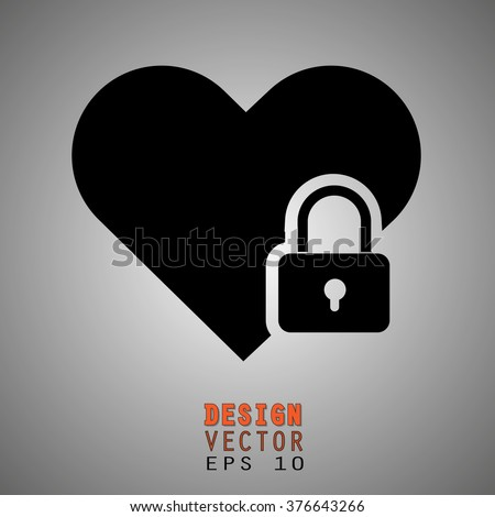 closed lock next to a heart