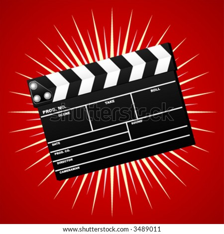 Closed movie clapboard used by movie directors over starry background - stock vector